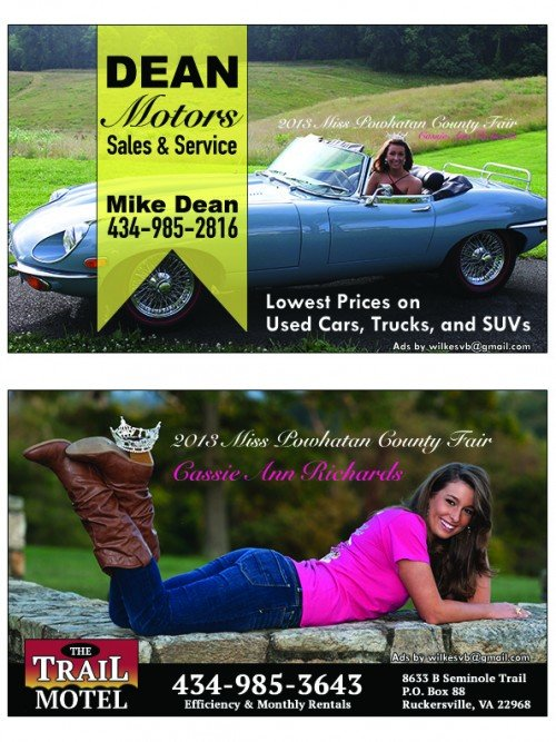 image of pretty girl in ads for used car company and motel